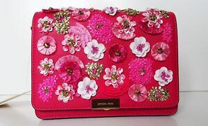 Michael Kors Jade Floral Sequined Pink Leather Clutch CrossBody Shoulder Bag NWT
