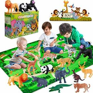 Safari Animals Figures Toys, Realistic Wild Zoo Animals Figurines with Play Mat