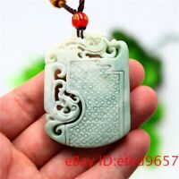 Jade Dragon Phoenix Pendant Necklace Amulet Carved Jewelry Double-sided Natural