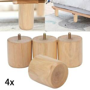 4x Wooden Sofa Legs replacement tapered feet for stool bed chair M8 TURNED WOOD
