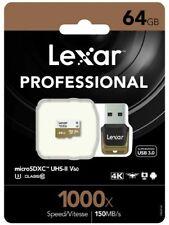 Lexar 64GB 64G 1000x 150MB/s Micro SD SDHC C10 UHS-I USB3.0 Card Reader GoPro 4K