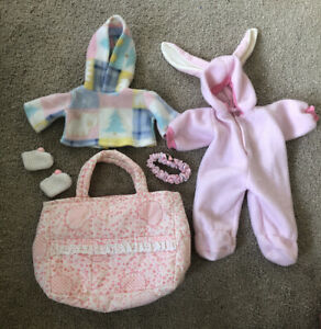Bitty Baby Easter Bunny Costume Headband Slippers Diaper bag Poncho Jacket Pink