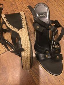 Black Wedge Sandal 6.5