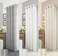 1 x Iona Printed Butterfly Linen Effect Voile Curtain Window Eyelet Panels