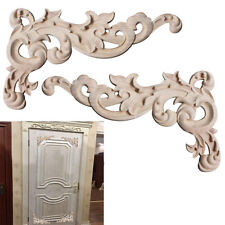 Woodcarving Corner Decals Furniture Wooden Carved Appliques Window Decor 1 Pair