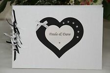 Personalised White & Black Hearts Photo, Birthday, Anniversary, Scrapbook Album