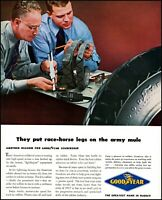 1943 WW2 Goodyear Tires working for the Army vintage photo Print Ad adL48