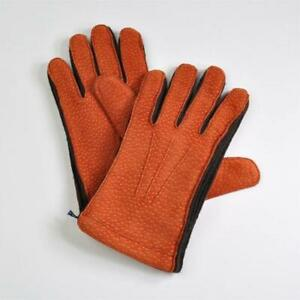 SARTORIA PARTENOPEA Napoli Cashmere Lined Peccary Leather Gloves M Made in Italy