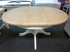 New Light Grey & Oak Round Extending Pedestal Dining Table *Furniture Store*