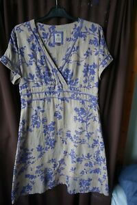 FAT FACE  dress pale coffee and lilac cotton size 8