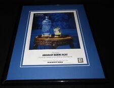 2010 Absolut Berri Acai Framed 11x14 ORIGINAL Vintage Advertisement