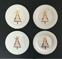 "PIER 1 Christmas Tree Plates SET OF 4  Red Green Gold  7.5"" Dessert Salad NEW"