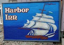 OLD STONE HARBOR NJ SIGN 4ft x 6 ft HARBOR INN ship at sea waves carved wood