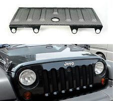 Black 3D Mesh Grill Insert Cover Hood Lock Hole For Jeep Wrangler JK 2007-2015