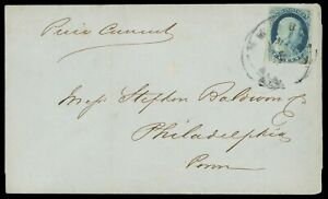 1¢ blue, type IV #9 on Mobile AL 1856 circular rate cover, cat $115