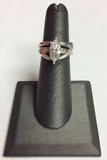 REAL STERLING SILVER Signed DQ Marquise Design CZ Band RING SZ 5 / 6.8g
