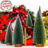 5X Mini Sisal Bottle Brush Christmas Tree Santa Snow Frost Village Putz House BY