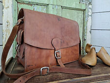 Antique OLD LEATHER Vintage Decor Shabby Chic Old FISHING TOOL Leather Man Bag