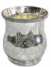 Antique Silver Glass Hurricane Candle Holder - Glitz Bow