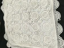 VINTAGE Crochet creamy white pillowcases x 2