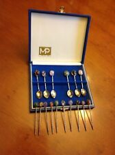 Vintage MP 'PRATA 99' Polished Stone Hors D'oeuvres picks and Boxed Spoons EUC