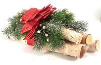Decorative Real White Birch Yule Log Bundle w/ Greenery Christmas Holiday Decor