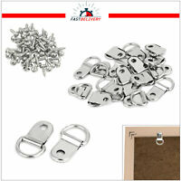 Photo Picture Frame Hanging D Rings with Metal Screws Home DIY Hangings 100pcs