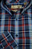 Roundtree & Yorke Men's Blue Red Navy Check Cotton Casual Shirt M Medium