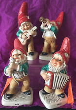 "CUTE LOT OF 4 GOEBEL CO-BOYS GNOME OR ELF FIGURINES WITH COAS , ""FOUR MUSICIANS"""