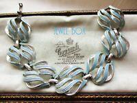 SIGNED CORO VINTAGE BLUE ENAMEL RHODIUM PLATED UNDULATING OPEN  PANELS BRACELET
