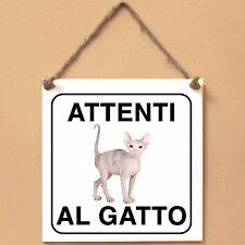 Don Sphynx 3 Attenti al gatto Targa gatto cartello ceramic tiles
