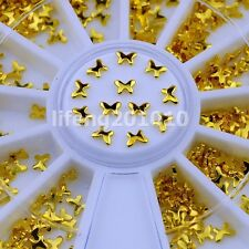 gold metall nail art decoration wheel nails accessories butterfly bow tie design