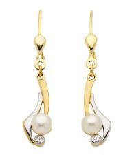 333 Gelbgold Brisuren Ohrhänger Ohrringe Kreolen Zirkonias Süßwasserperlen weiße
