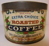 Rare Old Vintage 1930s McCORD BRADY COFFEE TIN 1 POUND COFFEE TIN OMAHA NEBRASKA