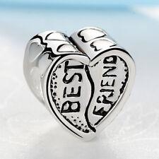 Best Friend Love Heart Silver Plated Friendship Charm fits European Bracelets