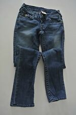 TRUE RELIGION BRAND Blue Jeans with Crystal Buttons, Sz 24, 32 inseam