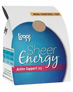 Reinforced Toe Pantyhose 4-Pack L'eggs Sheer Energy Active Support Non Control