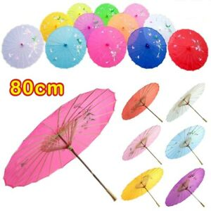 80CM Japanese Chinese Umbrella Art Deco Painted Parasol For Wedding Dance Party