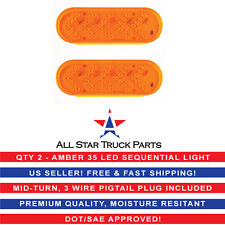 """6"""" Inch Oval Amber Sequential Arrow Mid Turn Light 35 LED Truck/Trailer- Qty 2"""