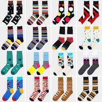 Hombr Raya Colores Calcetines De Algodón Jacquard Arte Medias Socks