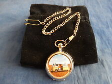 VW VOLKSWAGON CARAVANETTE CHROME POCKET WATCH WITH CHAIN (NEW) (2)
