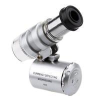 Taschen Mikroskop Juwel Juwelier Vergrößerungsglas 60x mit LED Licht Glas D6V1