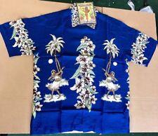 Large Blue  Hula Lady RARE MAMBO LOUD SHIRT Australian Hawaiian