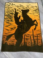 Vtg IBENA Relax Blanket Throw Cowboy Bucking Horse Country Western Reversible