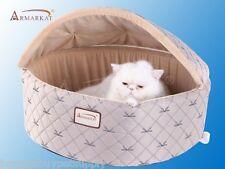 Armarkat Velvet Silk-Like Fabric Cat Kitten Dog Pet Hooded Bed Pale Silver Med