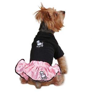 POODLE SET Dog Costume Pink Satin Skirt Black Tee Sequin Trim Retro Favorite