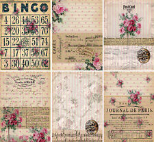 Shabby Chic Rose Bingo - Glossy Card Making Toppers