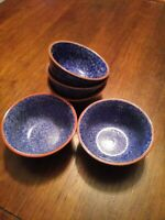 Style Eye Baum Brothers TERRA COLLECTION BLUE SPONGE Rim Soup Cereal Bowls Set 5