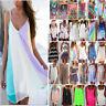 Womens Boho Sundress Bikini Cover Up Kaftan Beach Wear Summer Strappy Mini Dress