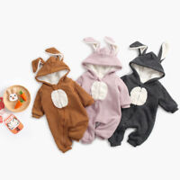 Rabbit Kids Girl Boys Rompers Jumpsuit Bodysuit Infant Winter Warm Thick Outfits